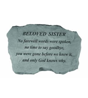 Beloved Sister - No farewell words... Stone