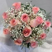 Dozen Rose Bouquet with Babies Breath