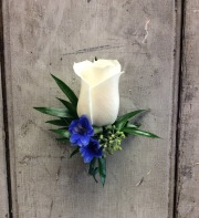 White Rose and Delphinium Boutonniere