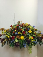 Country Blooms Casket Spray by TLS Florist
