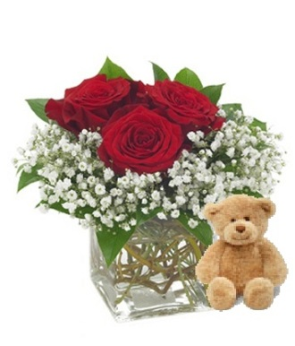 Charm Roses and a Teddy Bear