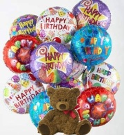 Dozen Happy Birthday Mylar Balloons and a Teddy Bear