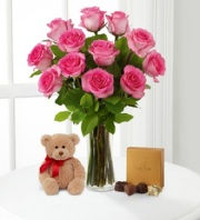 PINK ROSES WITH BEAR & GODIVA
