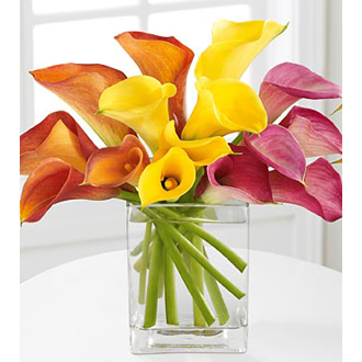Color My World, calla lilies, anniversary, wedding centerpieces
