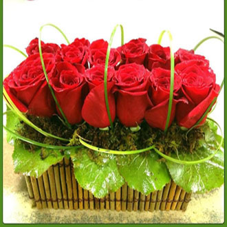 Modern Roses in Bamboo Basket, bamboo, thinking of you, friendship, thank you, get well