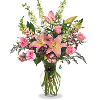 Shades of Pink, roses, lilies, stock, birthday, anniversary