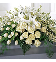 Resurrection Casket Spray, roses, tulips, orchids, lilies, sympathy and funeral