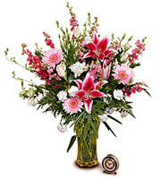 Pretty in Pink, stargazer lilies, gerbera daisies, larkspur, carnations, roses, year round, birthday, anniversary, new baby, congratulations, thank you, get well, sympathy