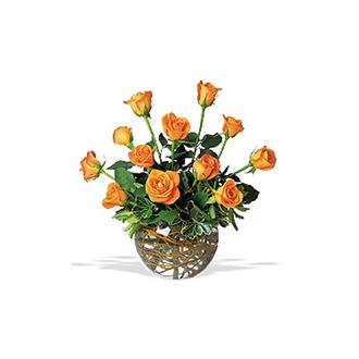 Orange Radiance, centerpieces, roses