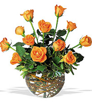 Orange Radiance, centerpieces, roses