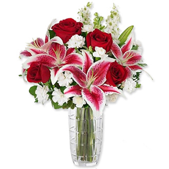 Anniversary Bouquet, stargazer lilies, roses
