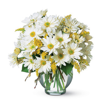 Simple Pleasures, daisy, chrysanthemums, solidago, centerpieces