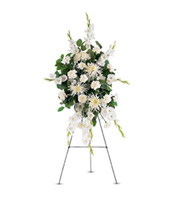 Standing White Promises Spray, carnations, chrysanthemums, gladioli, sympathy and funeral