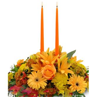 Autumn Gathering Centerpiece, lilies, daisies, roses, centerpieces