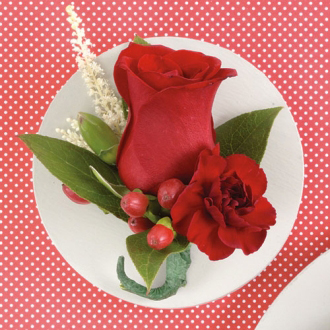 Red Romance Boutonniere, carnation, hypericum berry, corsages & boutonnieres