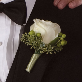 Unforgettable Rose Boutonniere, hypericum, eucalyptus, corsages & boutonnieres