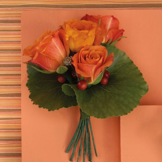 Orange Glow Boutonniere, roses, hypericum, galax, corsages & boutonnieres