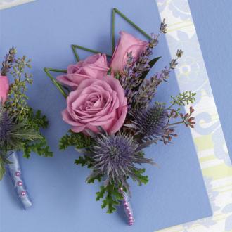 Purple Passion Boutonniere, rose, thistle, corsages & boutonnieres