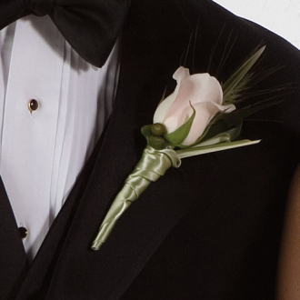 White Class Boutonniere, rose, corsages & boutonnieres