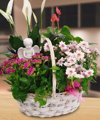 Blooming Garden Basket with Angel