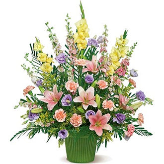 Spring Melody, lilies, lisianthus, carnations, gladioli, sympathy and funeral