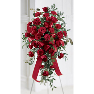Sweet Thought Standing Spray, carnations, roses, sympathy and funeral