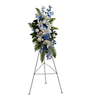 Ocean Breeze Spray, roses, lilies, dephinium, sympathy and funeral