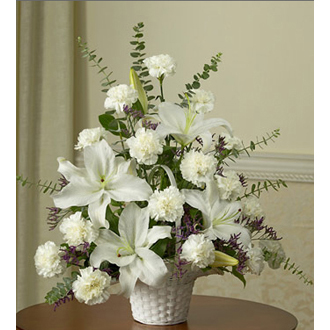 Comforting Thoughts, lilies, carnations, sympathy and funeral