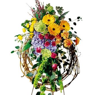 Rural Beauty Wreath, ranunculus, roses, carnations, daisies, hydrangea, bells of ireland, leptospermum, sympathy and funeral