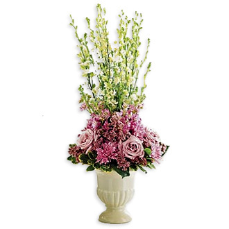 Sweet Farewell, roses, larkspur, stock, waxflower, sumpathy and funeral