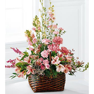 Magnificent Memorial, heather, snapdragons, alstroemeria, larkspur, sympathy and funeral