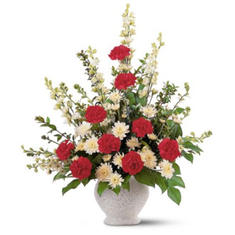 Vivid Sentiments, carnations, chrysanthemums, sympathy and funeral