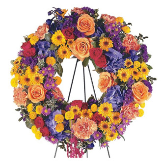 Celebration Wreath, roses, chrysanthemums, hydrangea, amaranthus, asters, sympathy and funeral