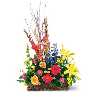 Sunshine Basket, gerberas, roses, lilies, delphinium, sympathy and funeral