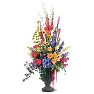 Grand Sentiments, delphinium, gerberas, roses, stock, sunflowers, sympathy and funeral