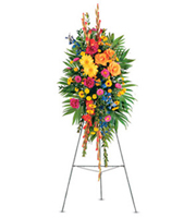 Celebration of Life Standing Spray, gladioli, roses, gerberas, asters, sympathy and funeral
