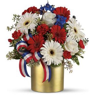 Hope Bouquet, gerberas, carnation, roses, delphinium, pittosporum, eucalyptus, patriotic, military