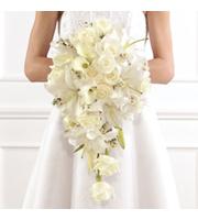 Classic Cascading Bouquet, roses, calla lilies, bridal bouquet