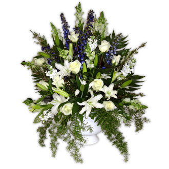 Lily and Delphinium Arrangement, snapdragons, roses, wedding ceremony