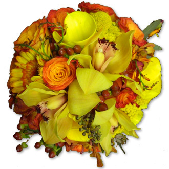 Orange and Yellow Blooms Bouquet, orchids, callas, roses, gerberas, yarrow, eucalyptus, bridal bouquet