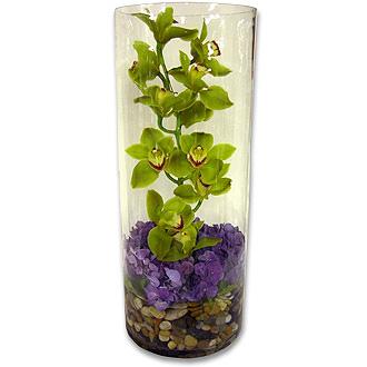 Orchid Cylinder, cymbidium, hydrangea, centerpieces