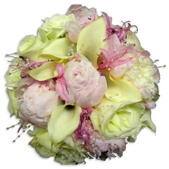 Pink and Pearls Bouquet, peonies, lilies, callas, lisianthus, roses, bridal bouquet