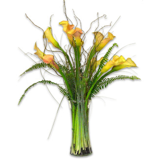 Yellow Calla Arrangement, beargrass, fern, willow, wedding ceremony