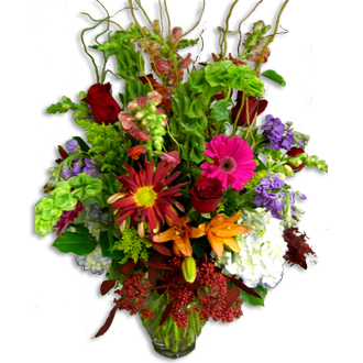 Color Burst Arrangement, mums, snapdragons, bells of Ireland, roses, lilies, wedding flowers for the ceremony, top of the line