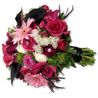 Pink Sparkle Bouquet, callas, roses, matsumoto, ranunculus, daisies, tulips, bridal bouquet