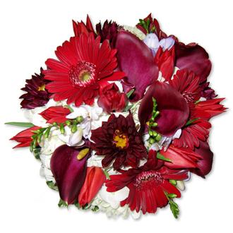 Burgundy Bouquet, dahlias, gerberas, hydrangea, freesia, callas, tulips, bridal bouquet