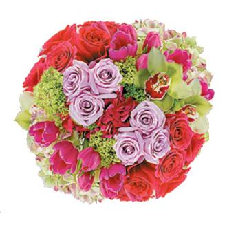 True Happiness Bouquet, hydrangea, roses, cymbidium orchids, tulips, bridal bouquet