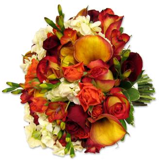 Bold Autumn Bouquet, freesia, callas, stock, roses, bridal bouquet