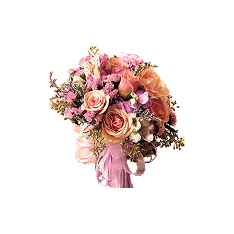 Pastel Floral Bouquet, roses, alstroemeria, eucalyptus, statice, caspia, bridal bouquet