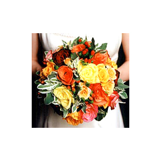 Orange and Yellow Clutch, bridal bouquet